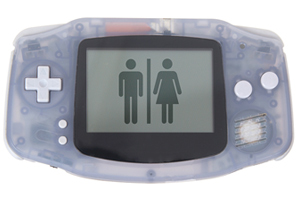 clear portable game console with male and female image on screen