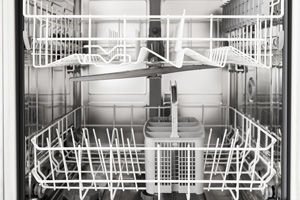 close-up of an empty dishwasher