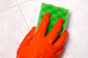 Hand with Green Sponge