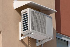 heat pump on outside wall