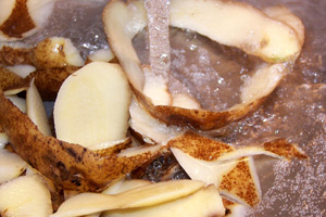potato peels in kitchen sink