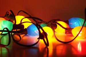 tangled, multicolored Christmas lights