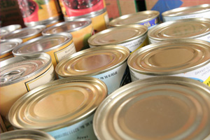 variety of canned foods