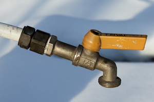 water tap outside in winter