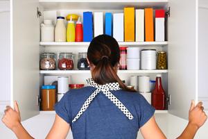 Woman Opening Pantry